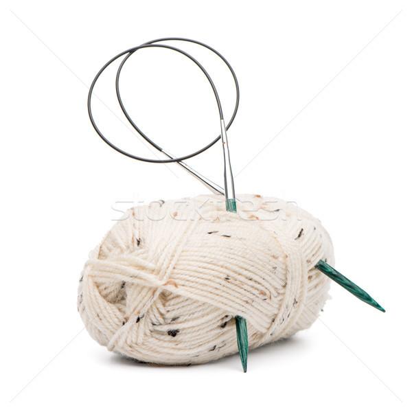 Beige lana agujas hilados Foto stock © homydesign