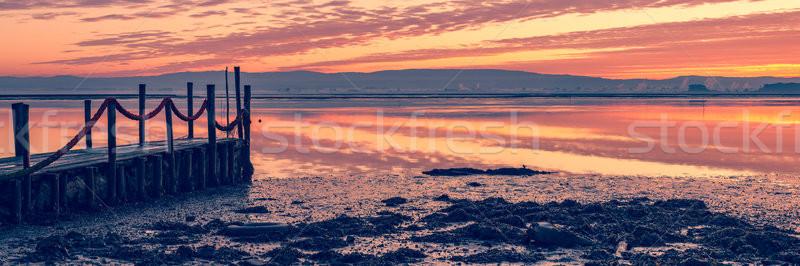 Stock fotó: Napfelkelte · fából · készült · móló · tó · víz · fa