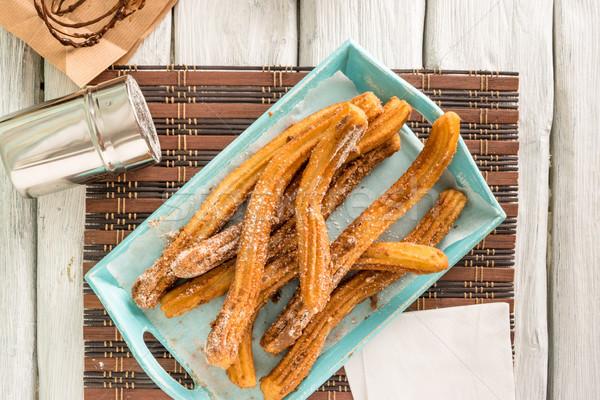 Hagyományos forró csokoládé mártás fából készült pult felső Stock fotó © homydesign