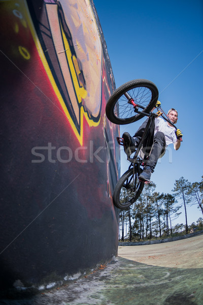 BMX Bike Stunt Wall Ride Stock photo © homydesign