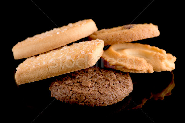 Beurre cookies noir isolé alimentaire Photo stock © homydesign