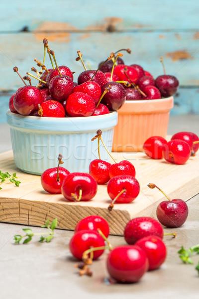 красный зрелый вишни керамической кегли кухне Сток-фото © homydesign