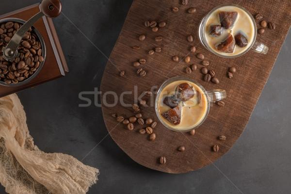 Jeges kávé üveg csokoládé nyár jég Stock fotó © homydesign