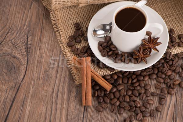 Xícara de café pano de saco saco feijões rústico Foto stock © homydesign