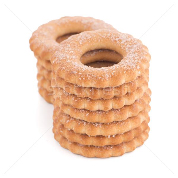 Anéis biscoitos isolado branco comida Foto stock © homydesign