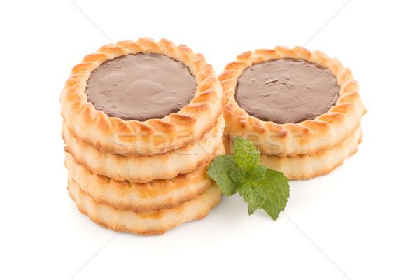 Cioccolato crostata cookies bianco alimentare Foto d'archivio © homydesign