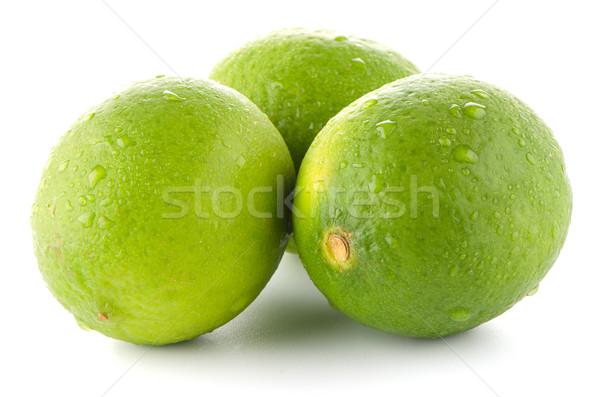 Stok fotoğraf: Taze · yeşil · yalıtılmış · beyaz · yaprak · meyve