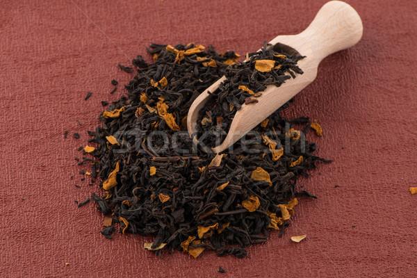 Fekete száraz tea fakanál piros bakelit Stock fotó © homydesign