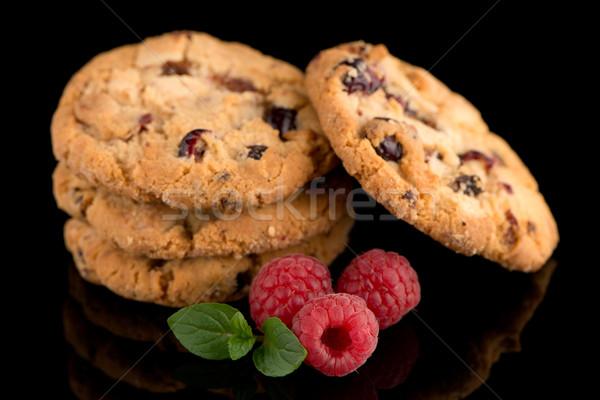 ストックフォト: 果物 · チップ · クッキー · ラズベリー · 孤立した