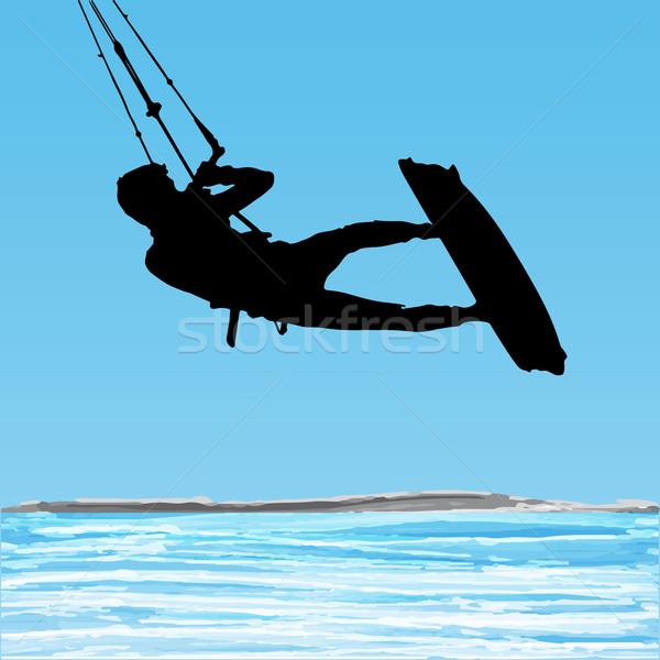 ジャンプ シルエット 水 青空 スポーツ ストックフォト © homydesign