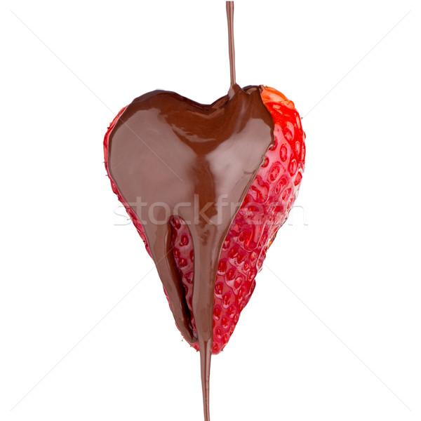 Heart shaped strawberry and chocolate drip Stock photo © homydesign