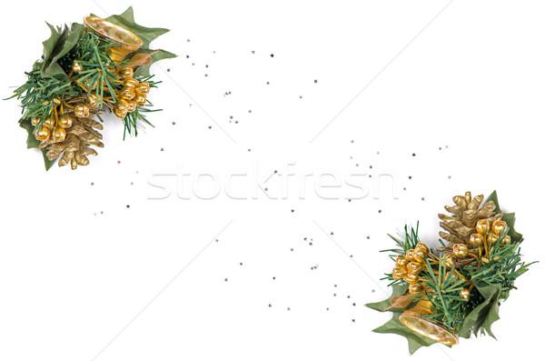 Vacances cadre frontière arbre de noël branche ornement Photo stock © homydesign