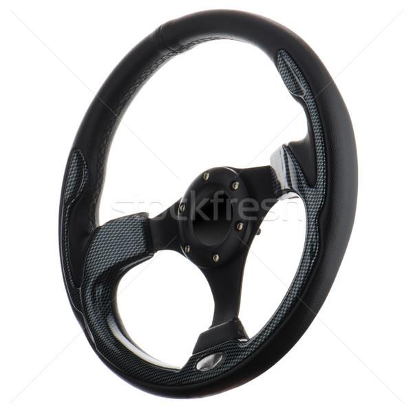 Stuur zwarte geïsoleerd sport snelheid leder Stockfoto © homydesign