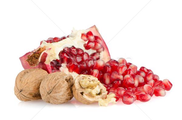Stock fotó: érett · gránátalma · gyümölcs · fél · izolált · fehér
