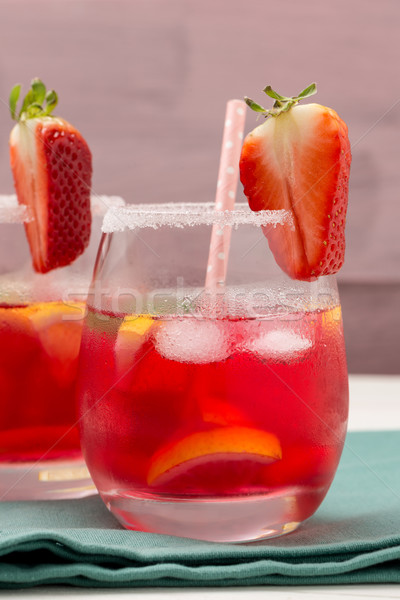 Stock photo: Cold strawberry drink