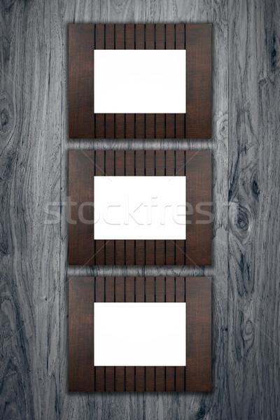 Oude fotolijstje vintage hout muur achtergrond Stockfoto © homydesign