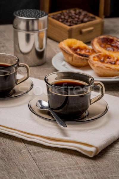 Vla koffie zwarte koffie houten tafel textuur ontbijt Stockfoto © homydesign