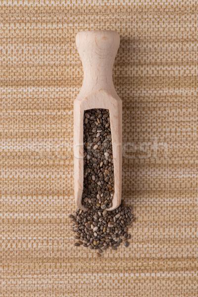Fából készült merítőkanál magok felső kilátás barna Stock fotó © homydesign
