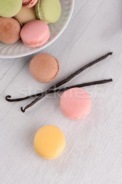 Klasik macarons ahududu kahve çikolata krem Stok fotoğraf © homydesign