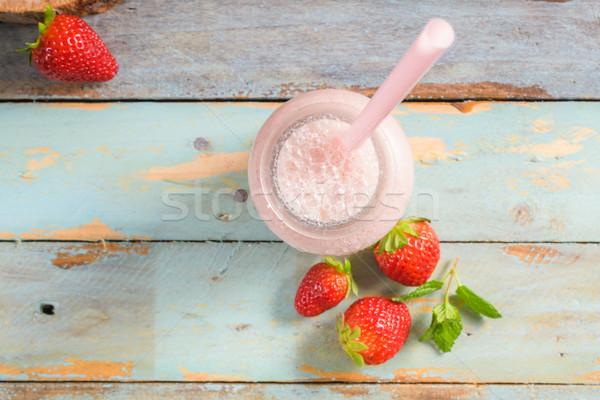 Gezonde aardbei smoothie metselaar glas jar Stockfoto © homydesign