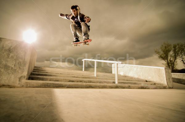 Skateboard ollie Stock photo © homydesign