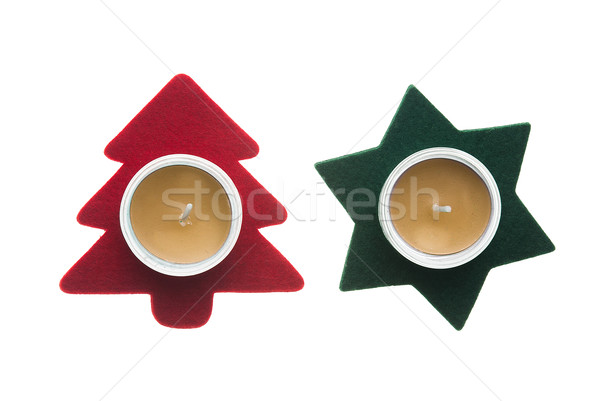 Red star and green pine tree  Christmas decorations with candles Stock photo © homydesign