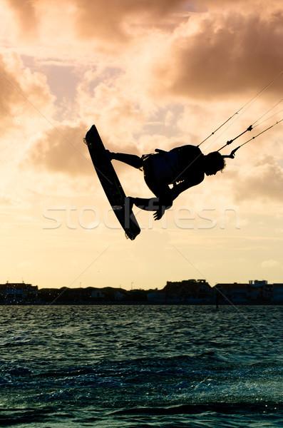 Foto stock: Silhueta · voador · acima · água · pôr · do · sol · céu