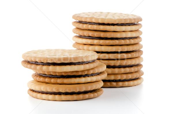 Szendvics kekszek csokoládé tömés fehér törött Stock fotó © homydesign