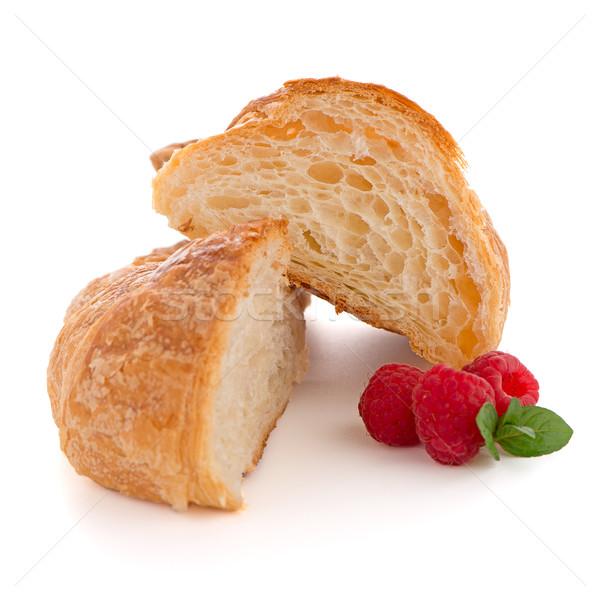 Stockfoto: Croissant · frambozen · vers · witte · goud · ontbijt