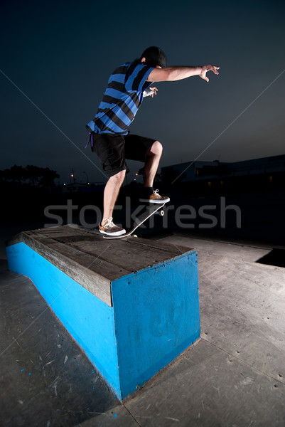 Skateboarder on a slide Stock photo © homydesign