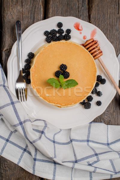 Pancakes with fresh blackberries Stock photo © homydesign