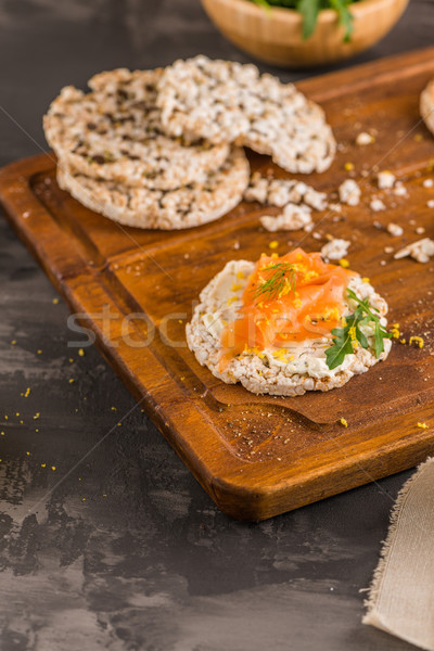 Smoked salmon on rice bread toasts Stock photo © homydesign