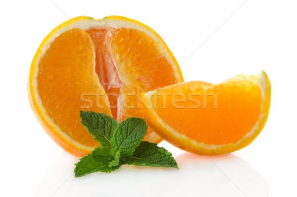 Narancs rész menta levél fehér gyümölcs Stock fotó © homydesign