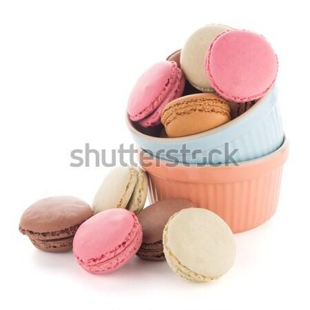 Coloré français macarons blanche alimentaire café Photo stock © homydesign