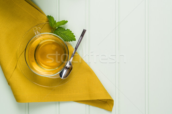 Herbal tea with melissa in a glass cup Stock photo © homydesign