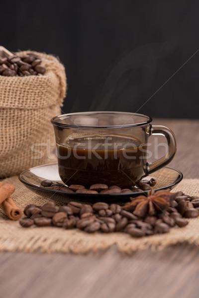 Taza de café arpillera frijoles rústico Foto stock © homydesign
