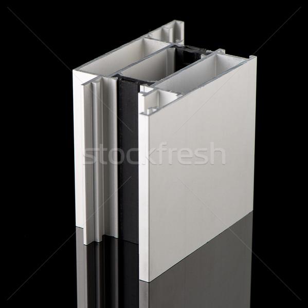 Foto d'archivio: Alluminio · profilo · campione · isolato · nero · costruzione