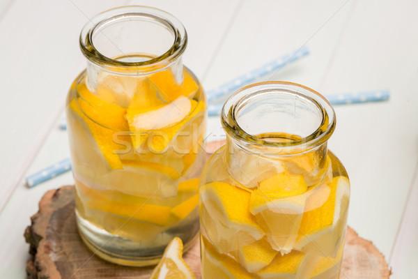 Citrom citrus szeletek nyár fából készült étel Stock fotó © homydesign