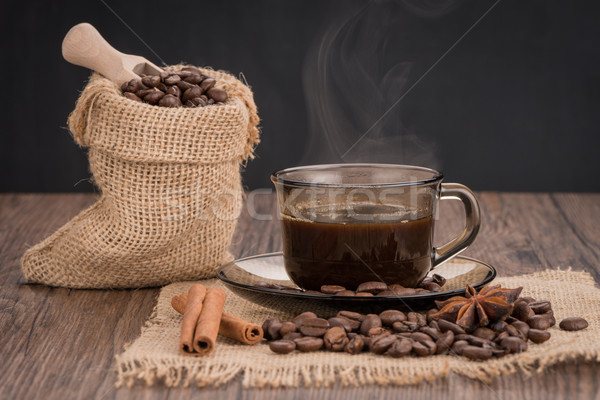 Coffee cup with burlap sack Stock photo © homydesign