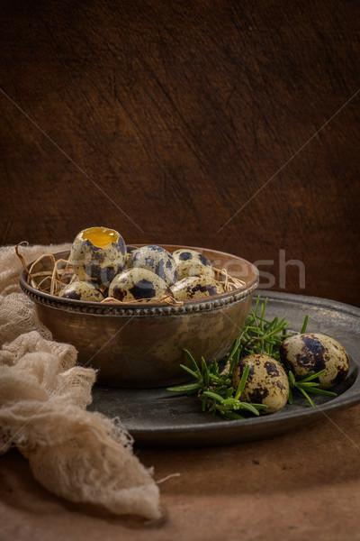 Fresh quail eggs Stock photo © homydesign