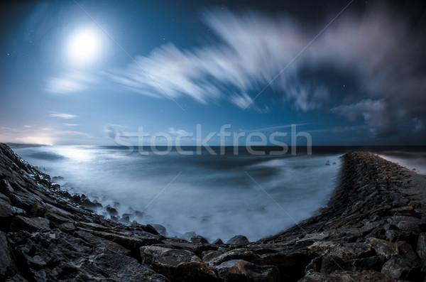 Сток-фото: побережье · ночь · длительной · экспозиции · выстрел · небе · океана