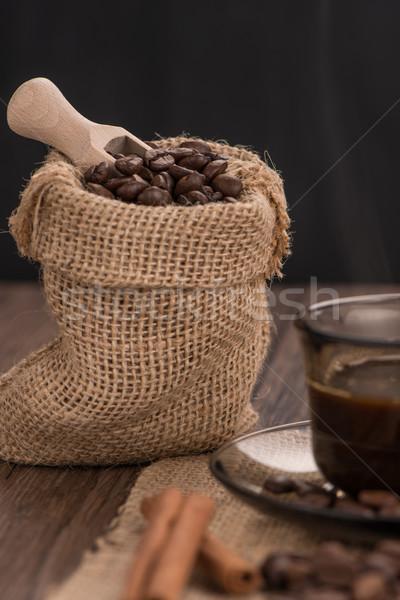 Kahve fincanı çuval bezi fasulye rustik Stok fotoğraf © homydesign