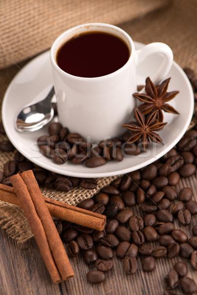 Stock fotó: Kávéscsésze · zsákvászon · zsák · pörkölt · bab · rusztikus