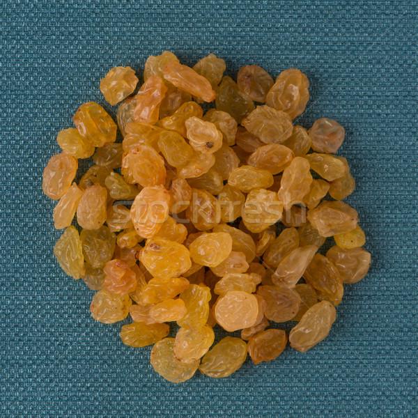 Daire altın kuru üzüm üst görmek mavi Stok fotoğraf © homydesign
