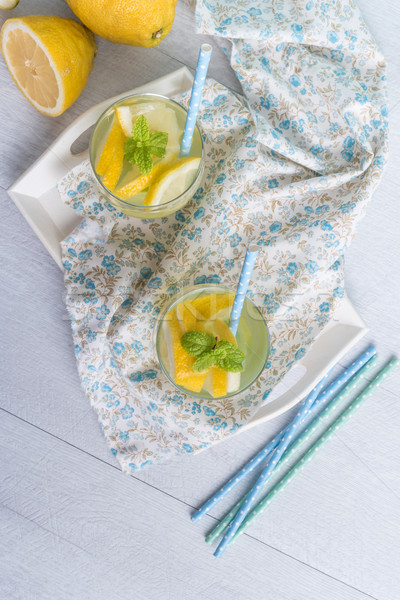 Zomer citrus vruchten drinken houten Stockfoto © homydesign