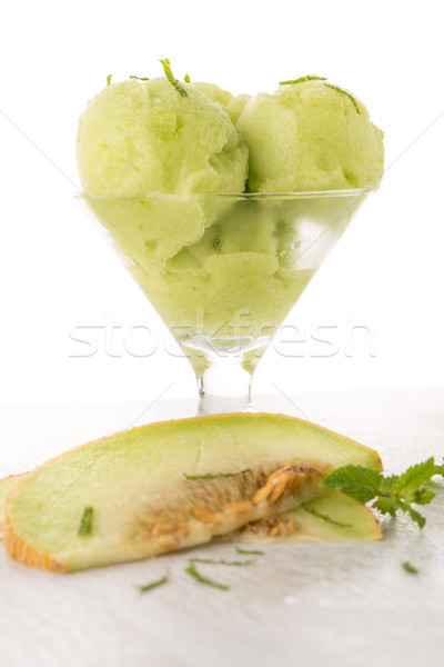 Meloen icecream mint witte tabel Stockfoto © homydesign