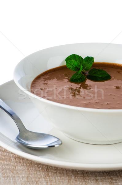 Mus czekoladowy biały kubek mięty pozostawia łyżka Zdjęcia stock © homydesign