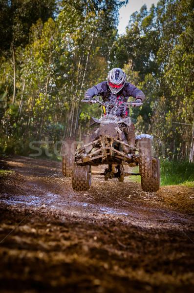 Quad rider jumping Stock photo © homydesign
