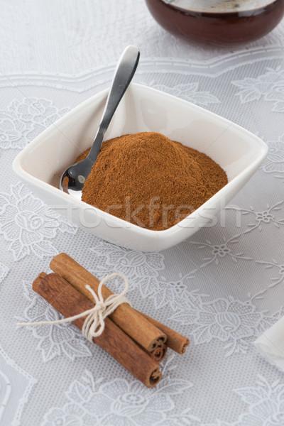 Foto stock: Canela · pó · cerâmico · tigela · comida · bambu