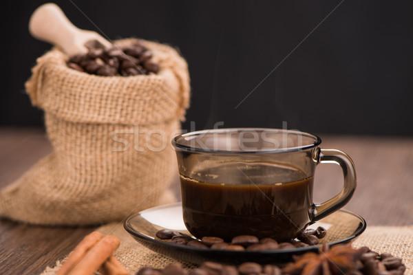 чашку кофе брезент мешок бобов деревенский Сток-фото © homydesign